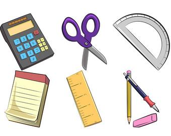 Ruler pencil etsy school. Calculator clipart office items