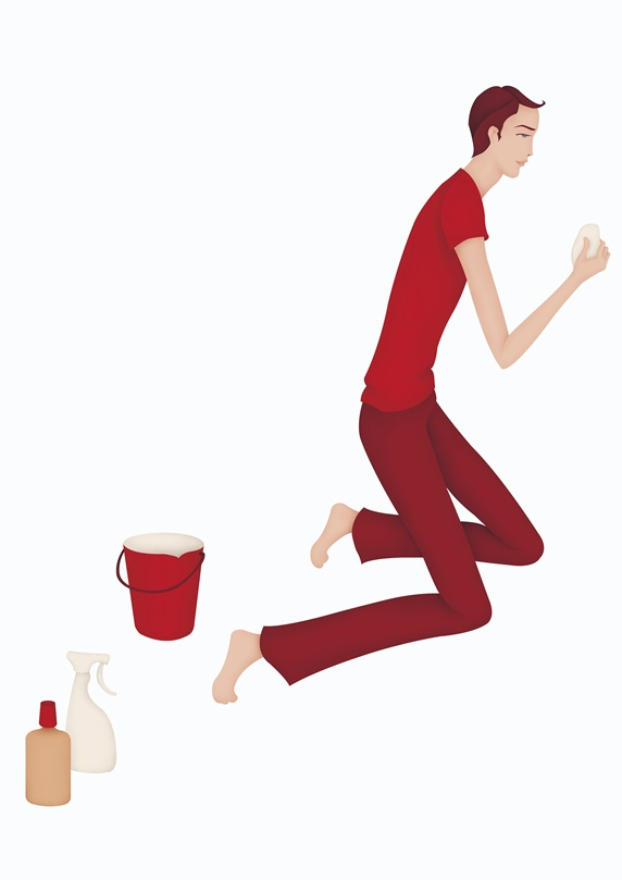 Of man with cleaning. Calculator clipart side view