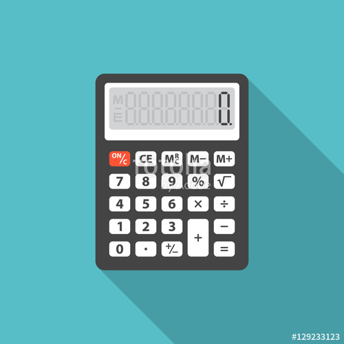 Icon with long shadow. Calculator clipart silhouette