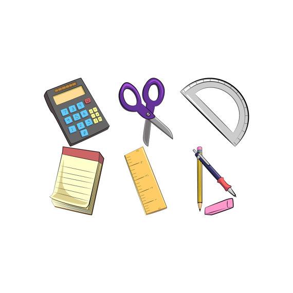 School clip art supplies. Calculator clipart supply