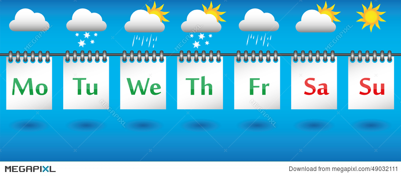 Calendar clipart 7 day. Weather forecast for the