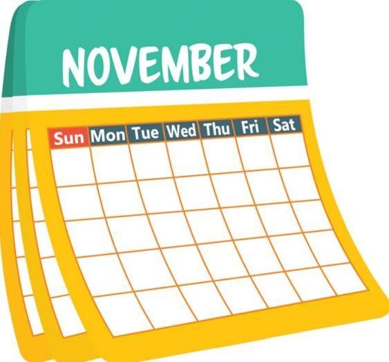 Calendar clipart. November number january