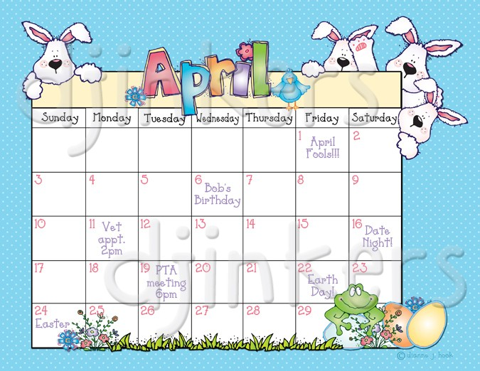 Calendar clipart april. Whimsical springtime clip art