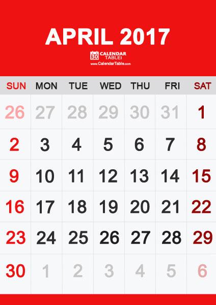 Calendar clipart april 2017. Free printable calendartable com