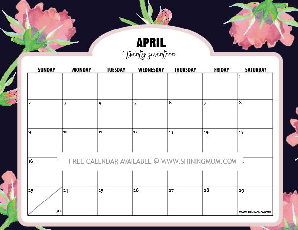 Calendar clipart april 2017. Make a free photo