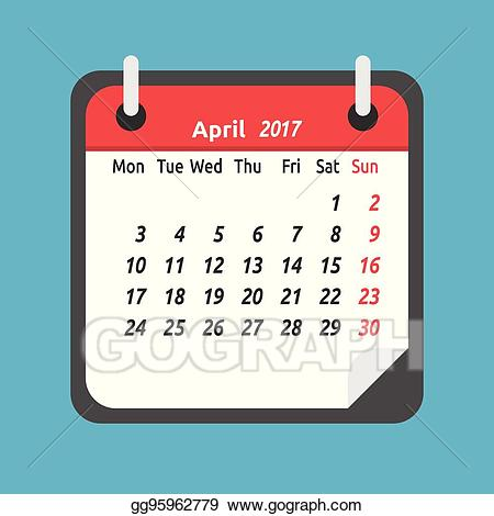 Vector stock monthly . Clipart calendar april 28th