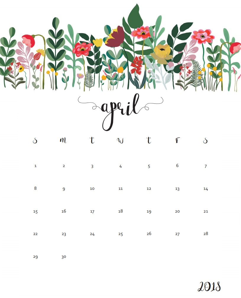 Calendar clipart april 2018. Blank free printable template