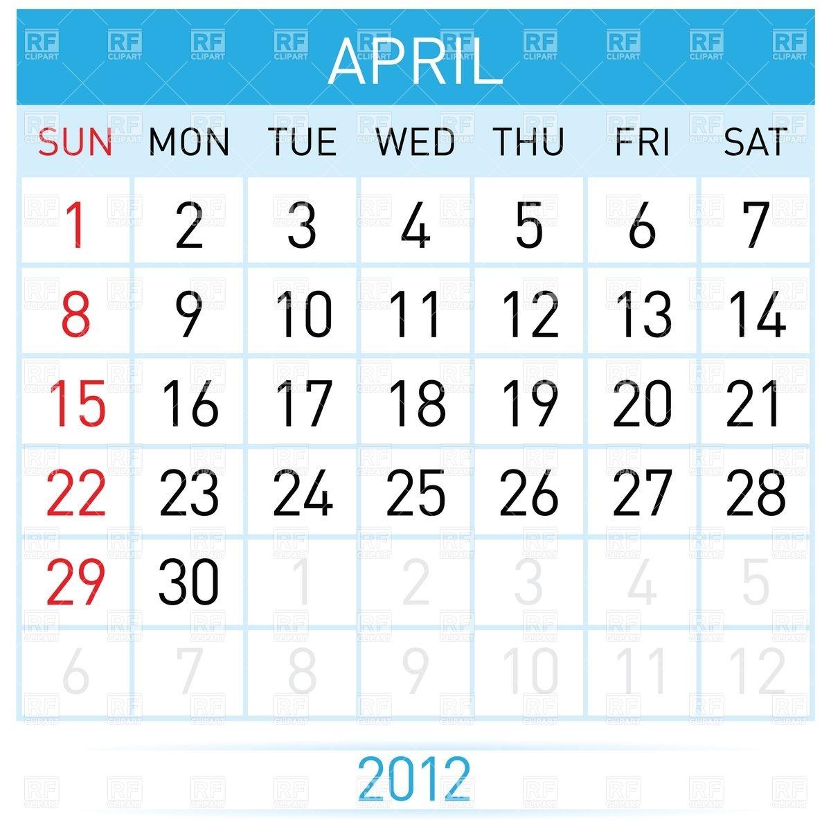 Calendar clipart april. Month