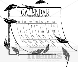 Calendar clipart autumn. Menu graphics