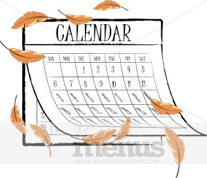 Fall menu graphics. Calendar clipart autumn