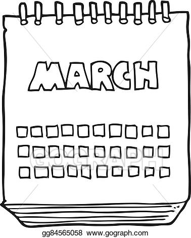 Calendar clipart black and white. Vector stock cartoon march