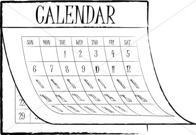 Calendar clipart black and white. Kids letters