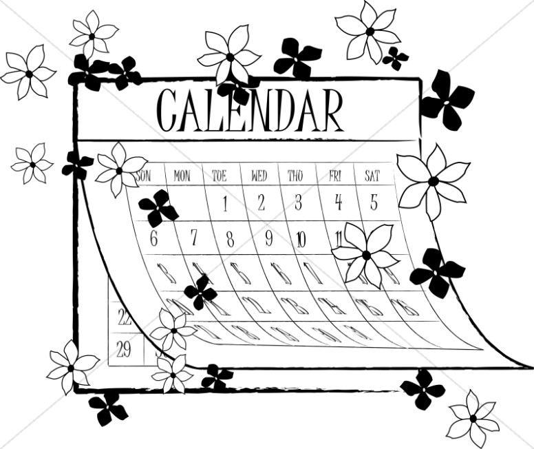 Spring christian. Calendar clipart black and white
