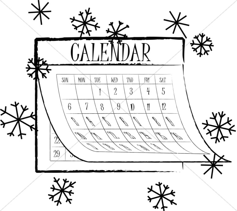 Calendar clipart black and white. Snowflake christian
