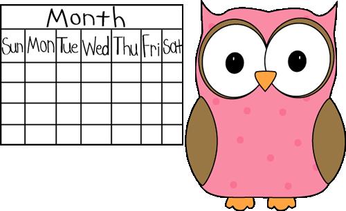 Calendar clipart chart. Owl classroom job clip