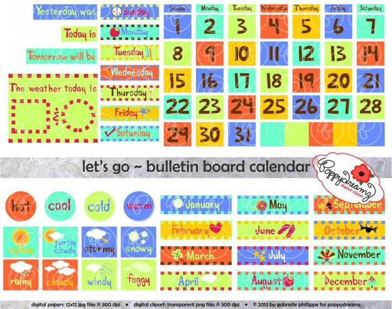 Let s go bulletin. Calendar clipart chart