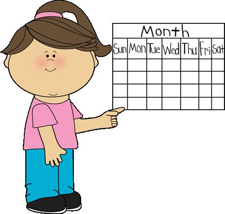 Girl Classroom Calendar Job Clip Art