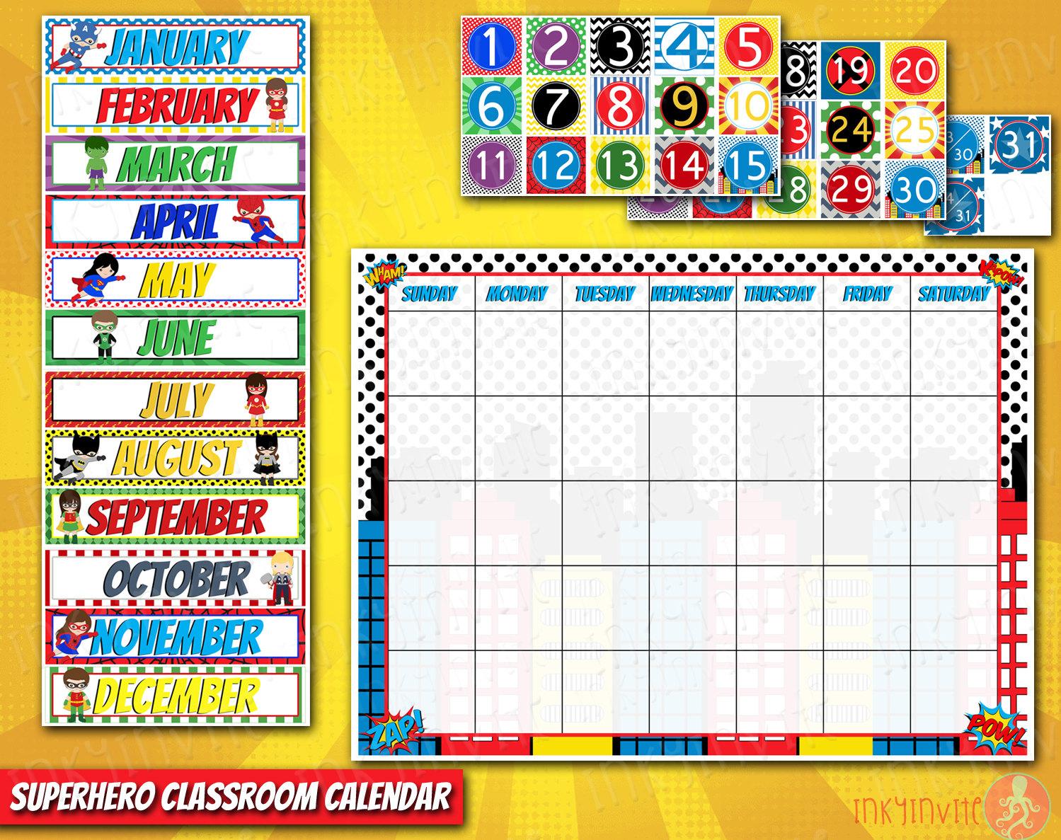 Calendar clipart classroom. Superhero pre school