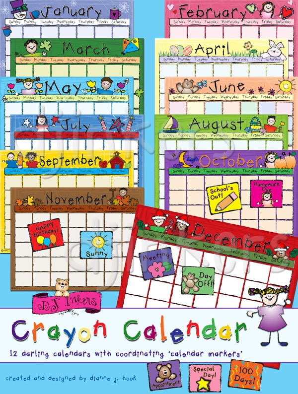 Calendar clipart cute. Crayon download made with