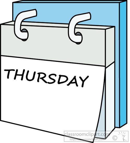 Calendar clipart day. Week thursday classroom dayweekcalendarthursdayjpg