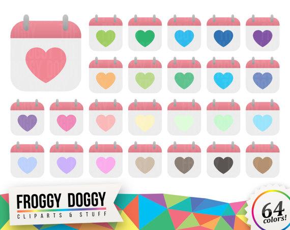 Calendar clipart digital. Heart valentines love planner