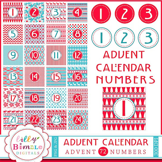 Advent diy christmas instant. Calendar clipart digital