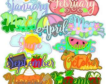 Etsy monthly memories vector. Calendar clipart digital