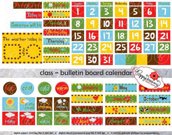 Class bulletin board set. Calendar clipart digital