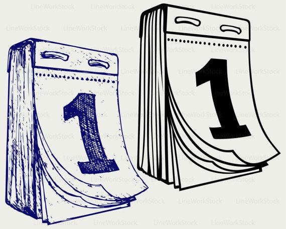 Calendar clipart digital. Tear off svg silhouette