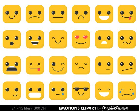 Emotion feelings faces collage. Calendar clipart emoji