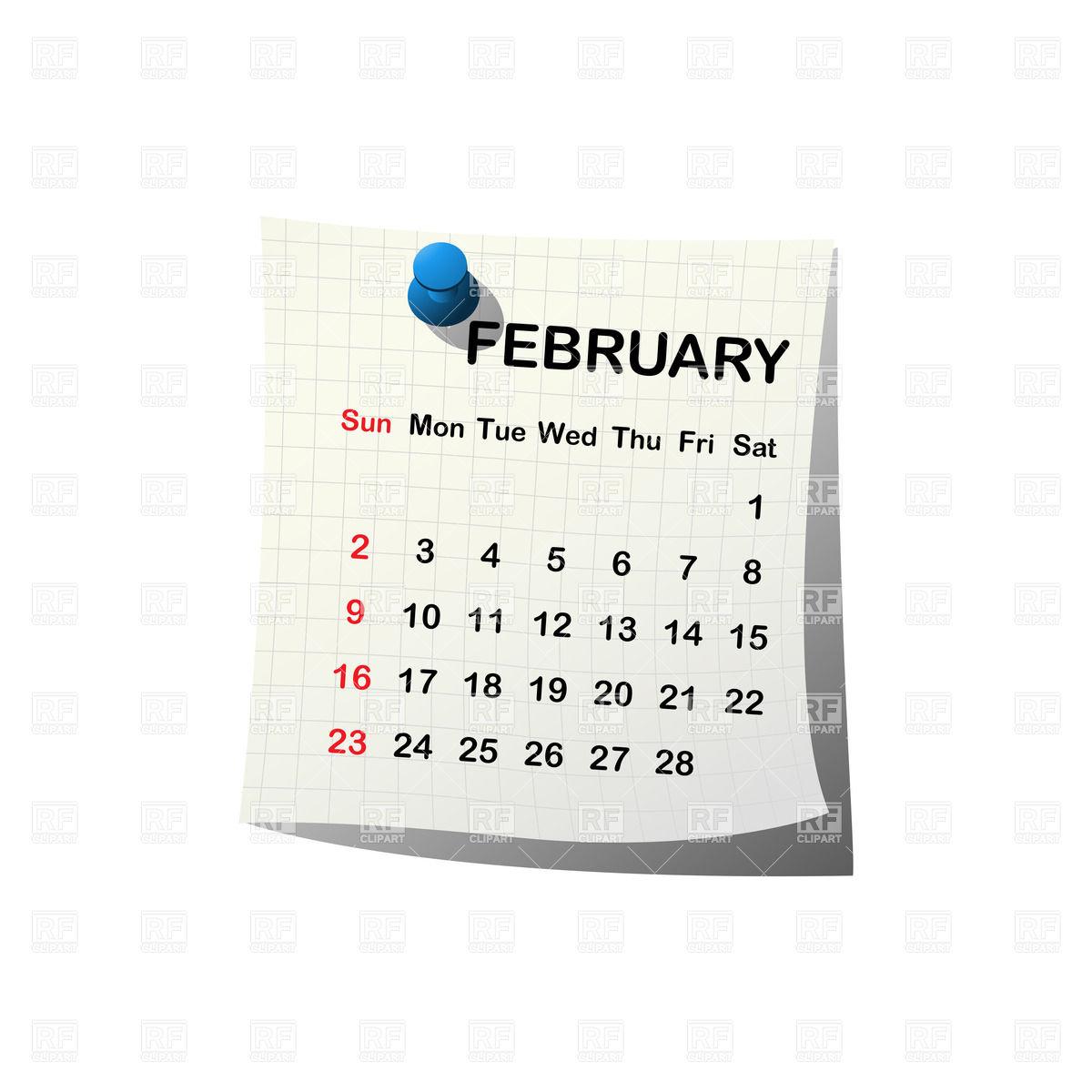 Calendar clipart february.