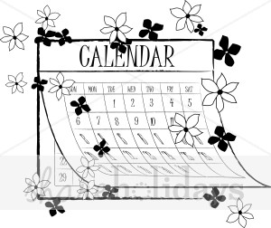 Black and White Calendar with Flowers Clipart