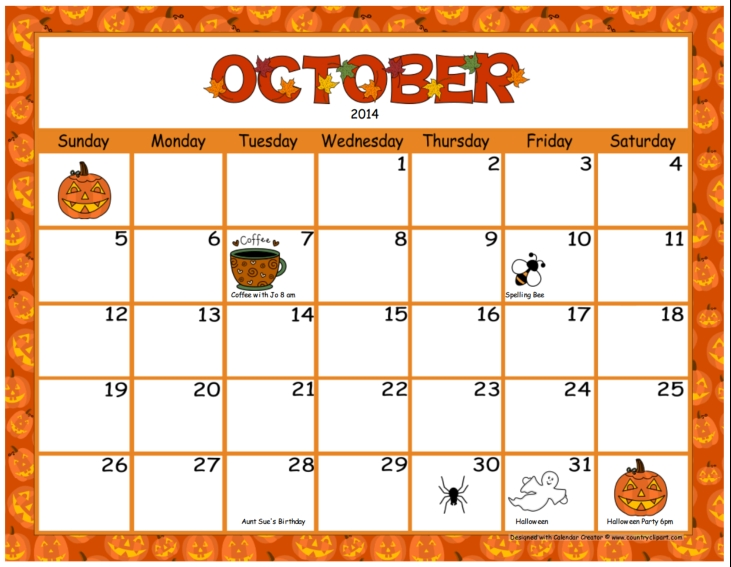 Calendar clipart kid. October station
