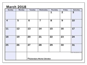 Calendar March Ss