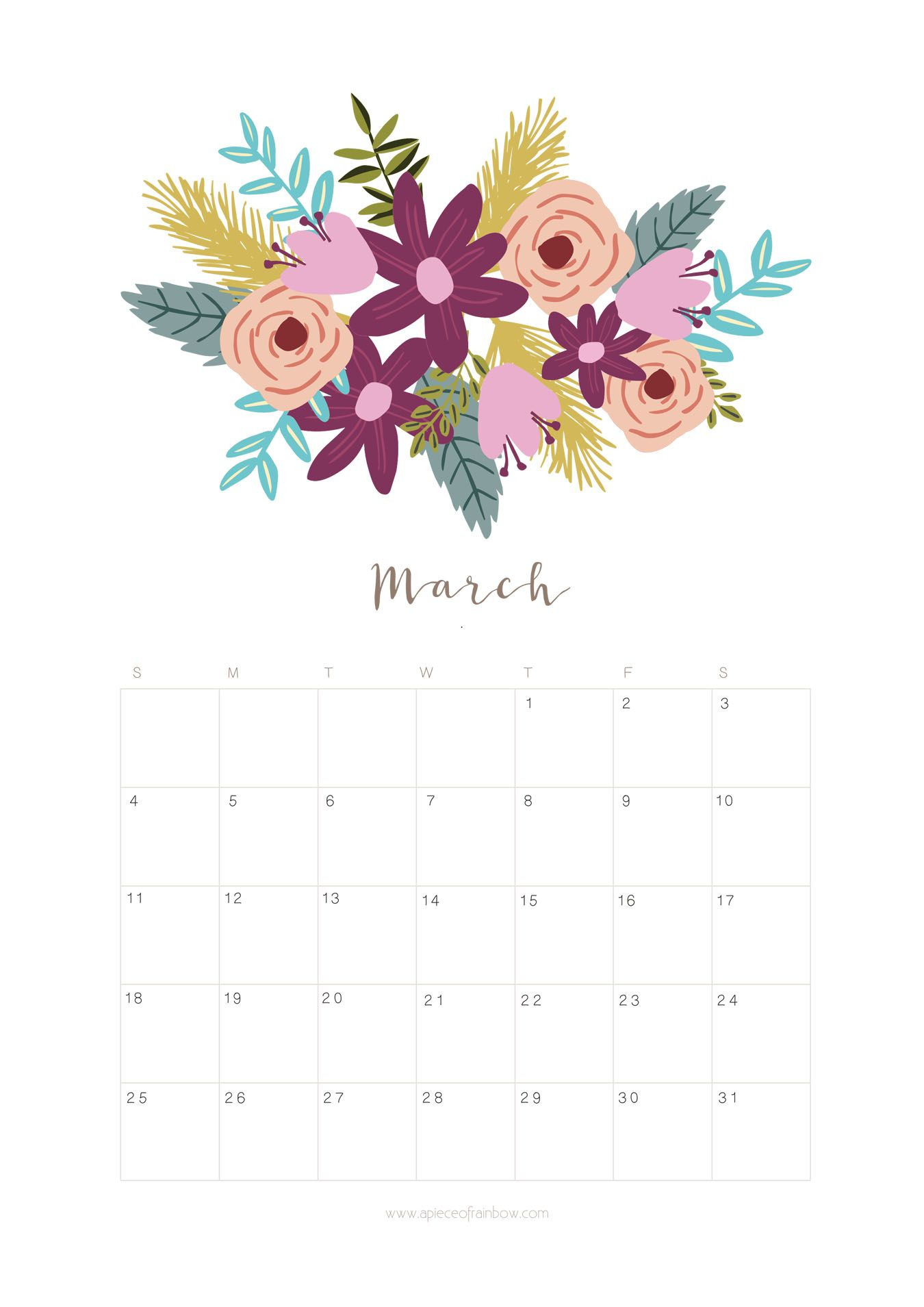 Printable monthly planner flower. Calendar clipart march 2018