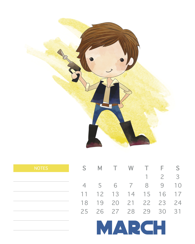 Calendar clipart march 2018. Free printable star wars
