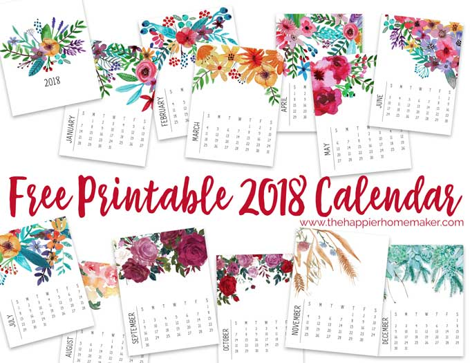 Calendar clipart march 2018. Printable monthly modern floral