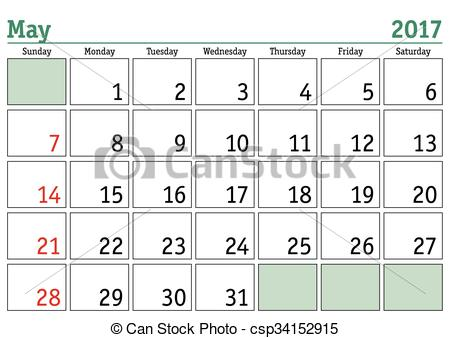 Calendar clipart may 2017.