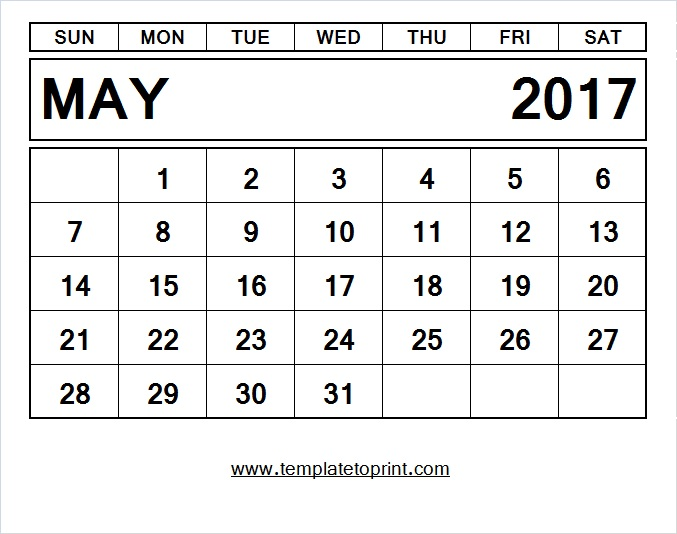 monthly template pdf. Calendar clipart may 2017
