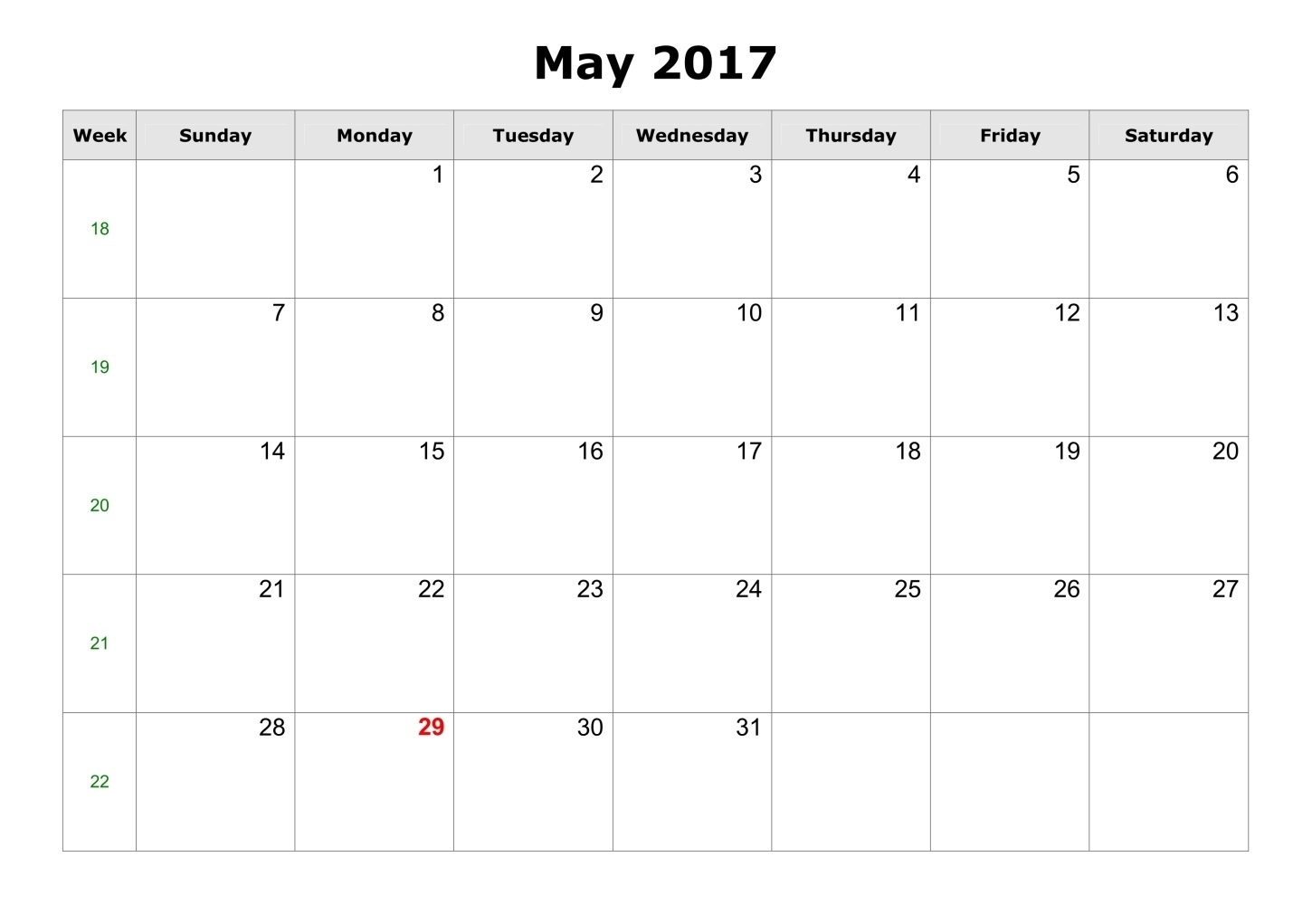 Blank templates printable. Calendar clipart may 2017