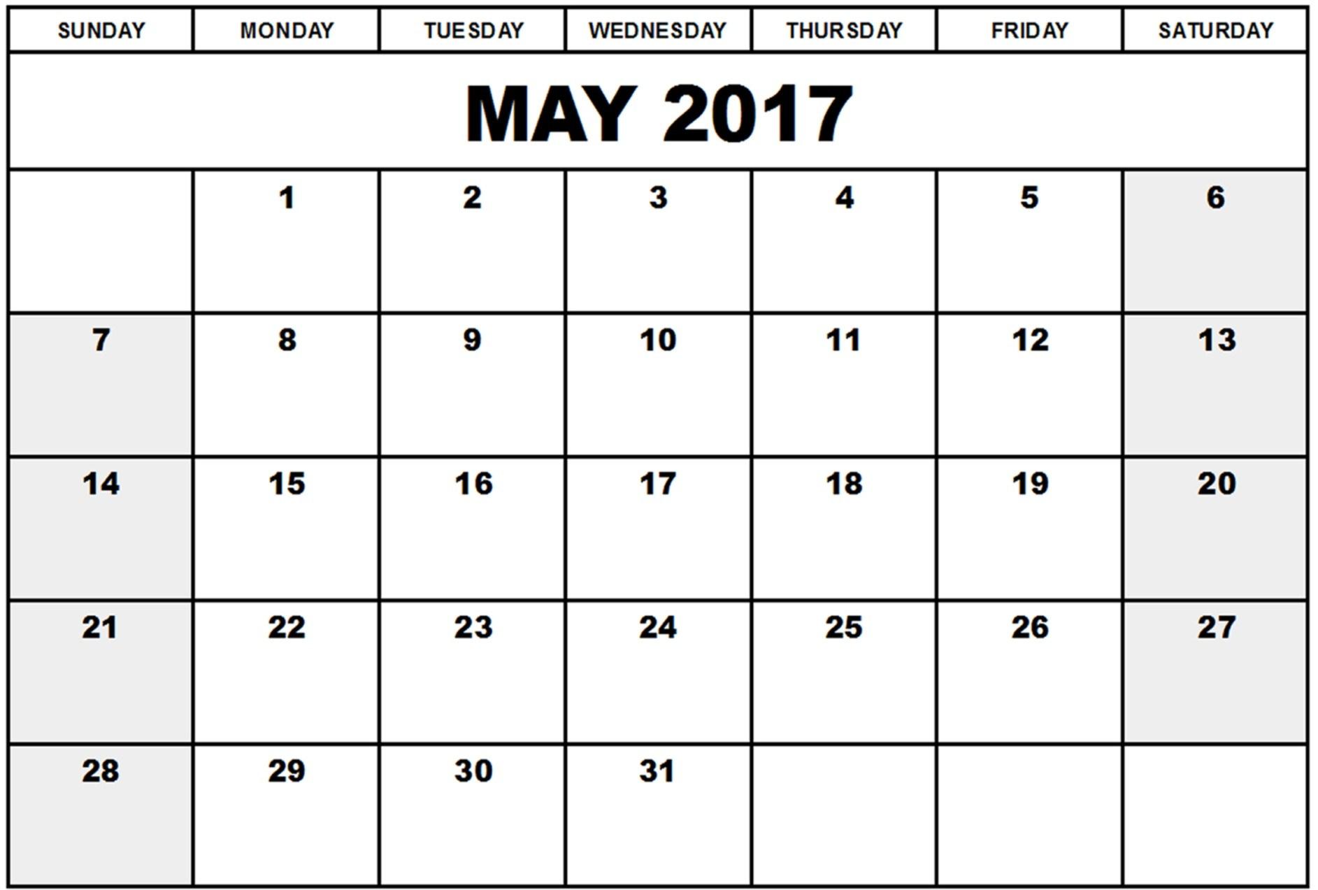 Calendar clipart may 2017.