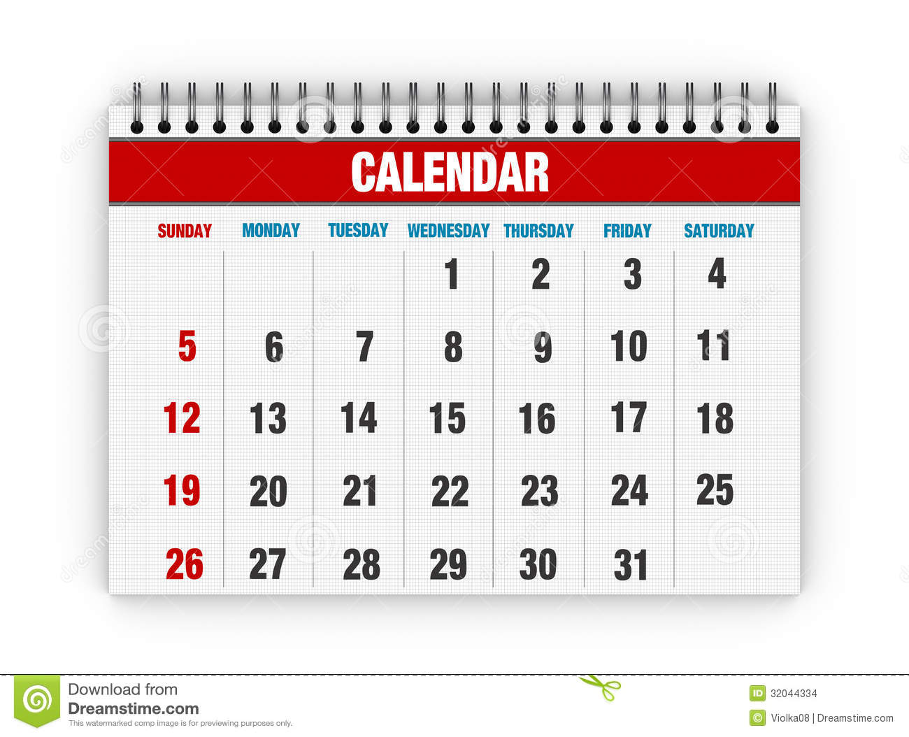 Calendar clipart month. Blank red days clip