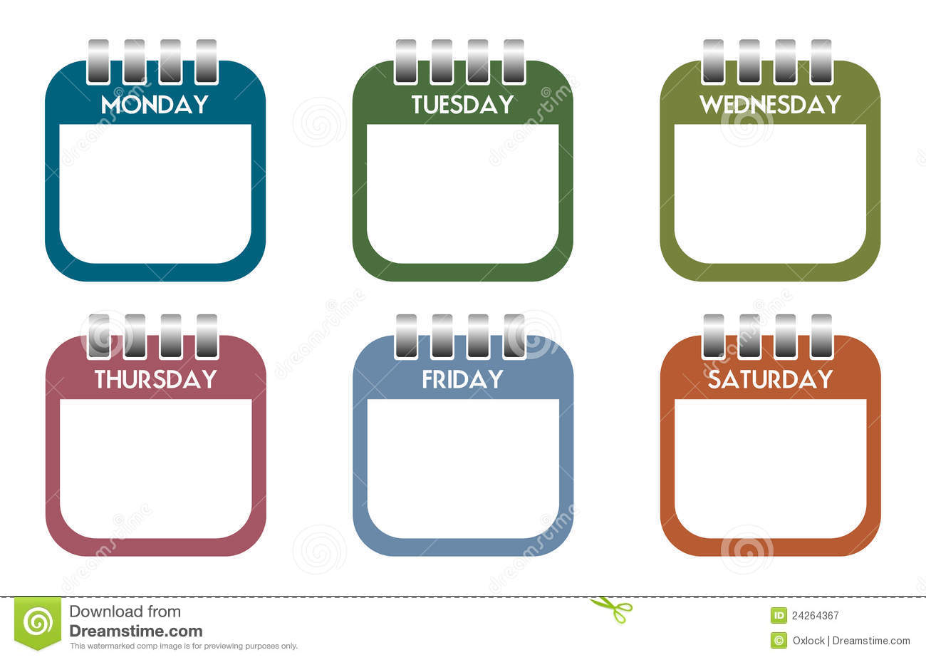 Calendar clipart one week.
