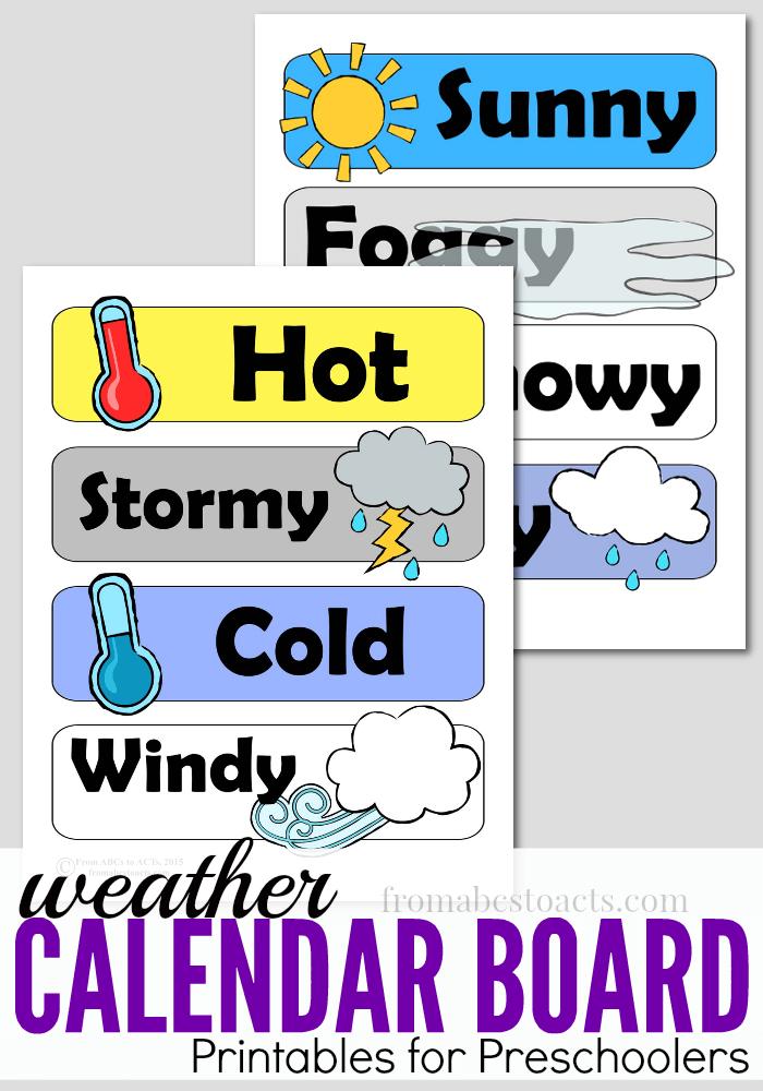 Calendar clipart preschool. Board weather printables teach