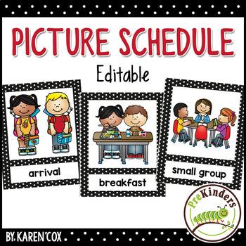 Preschool clipart calendar. Picture schedule editable pre