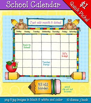 Printable school clip art calendar by DJ Inkers