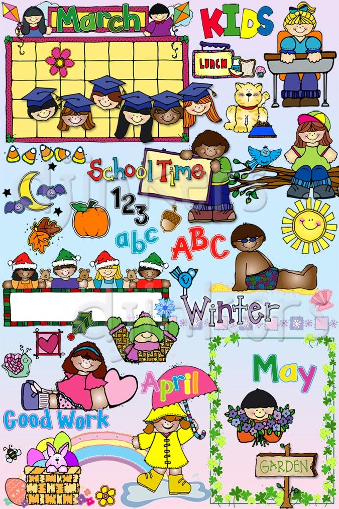 Kids all year calendars. Calendar clipart seasons