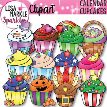 Calendar clipart seasons. And holidays cupcake of