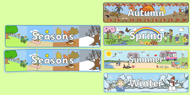 Calendar clipart seasons. Four display banners season