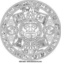 Calendar clipart sketch. Stylized aztec raster version
